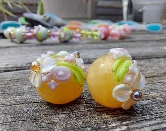 Flora - Earring Pair - Handmade glass bead - lampwork glass bead