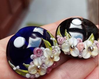 Midnight Garden focal lampwork bead by mad cat glass SRA OOAK