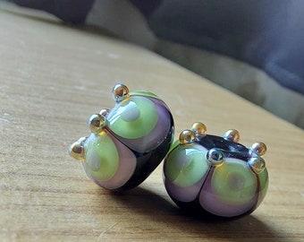 Black, amethyst and green crowned Fiesta Lampwork Bead Pair - Handmade glass bead - UK Handmade