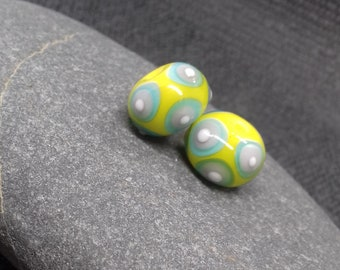 Yellow, blue and purple Bead Pair - Handmade glass bead - UK Handmade