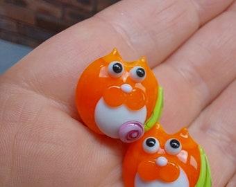 Orange Tuxedo kitty bead pair  - Made To Order - lampwork glass beads - UKhandmade
