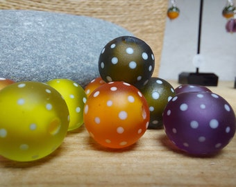 Etched Fall Colours polkadot bead set - lampwork beads - etched glass beads