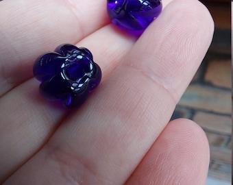 Transparent cobalt blue pumpkin shaped beads - lampwork glass beads - UKhandmade