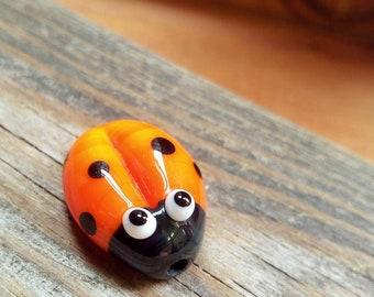 Cute Orange Ladybug - Lampwork Focal Glass Bead - Beading supplies - Jewellery Supplies - UK-
