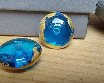 Rustic Transparent Turquoise and Pure Gold Leaf Beads - lampwork beads