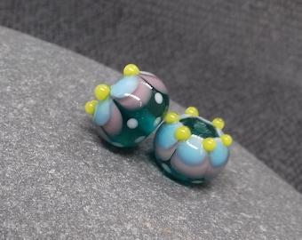 Teal Fiesta Lampwork Bead Pair - Handmade glass bead - UK Handmade