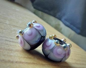 Black, amethyst and grey crowned Fiesta Lampwork Bead Pair - Handmade glass bead - UK Handmade
