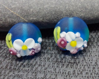 Etched Turquoise Spring Bouquet - Lampwork Glass Flower Bead- UK Handmade - pair of beads