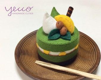 PDF pattern - Japanese Matcha Cake Pattern and Tutorial - felt play food sewing pattern - felt cake sewing pattern - E pattern