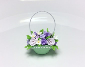Dollhouse flower basket with lilac roses handmade from polymer clay
