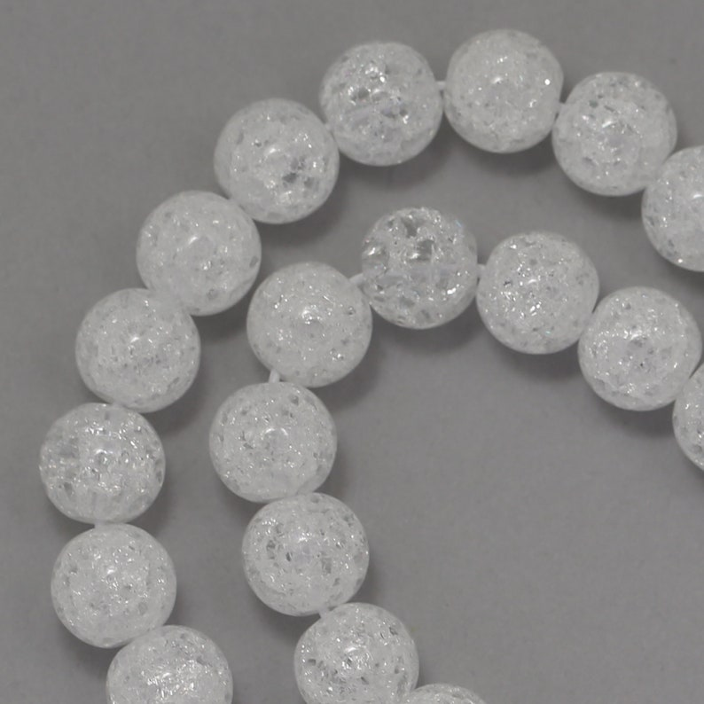 Crackle Glass Beads  Clear  8mm Round image 0