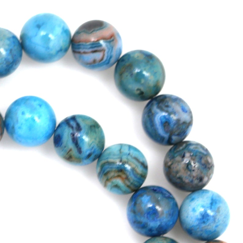 Blue Crazy Lace Agate Beads  10mm Round image 0