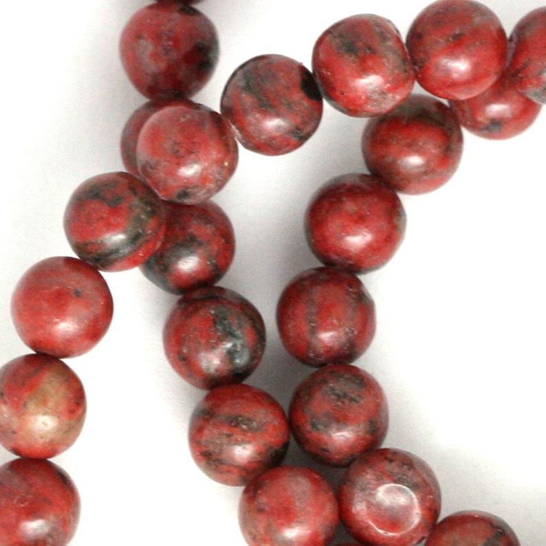 Red Sesame Jasper Beads  6mm Round image 0