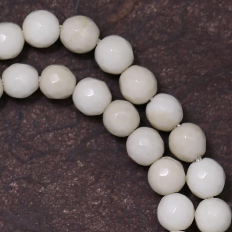 White Fossil Stone Beads  6mm Faceted Round image 0