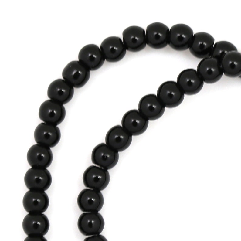 Black Obsidian Beads  4mm Round image 0