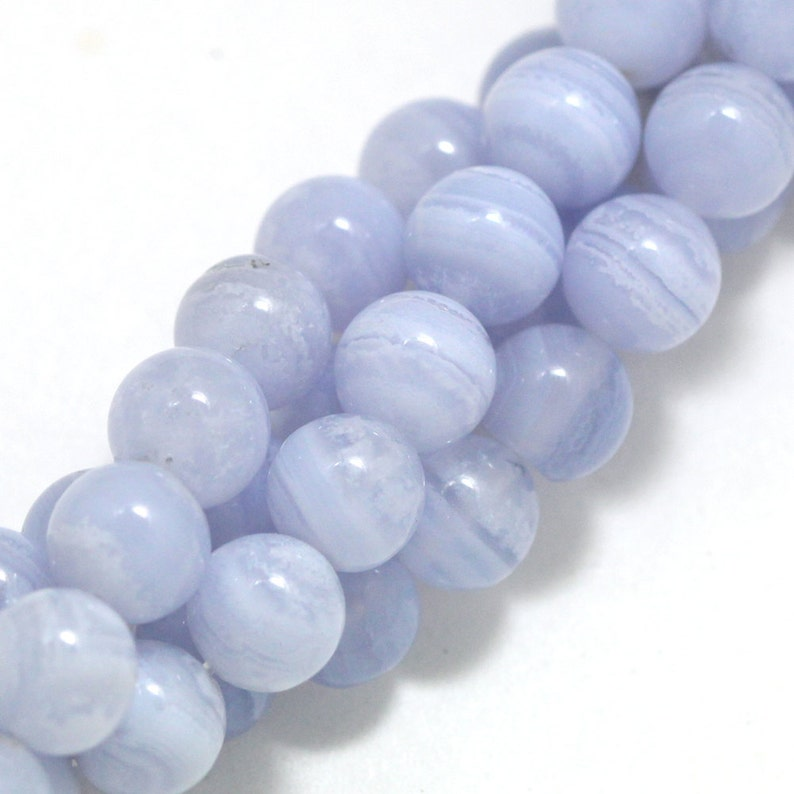 Blue Lace Agate Beads  6mm Round image 0