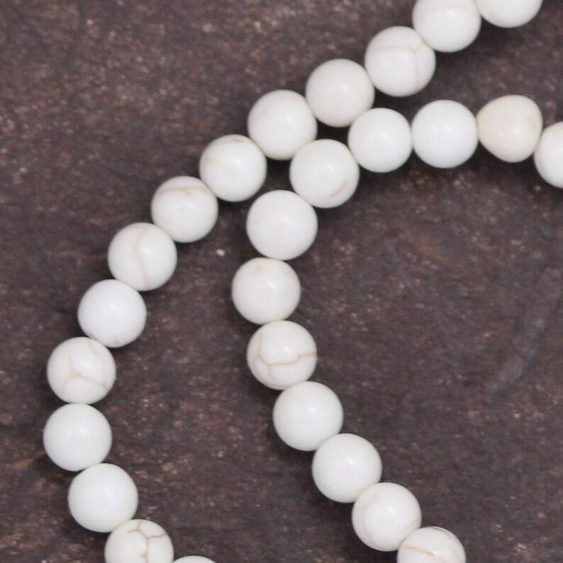 White Magnesite Beads  4mm Round image 0
