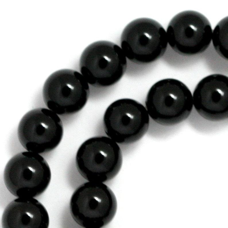 Black Onyx Beads  8mm Round image 0