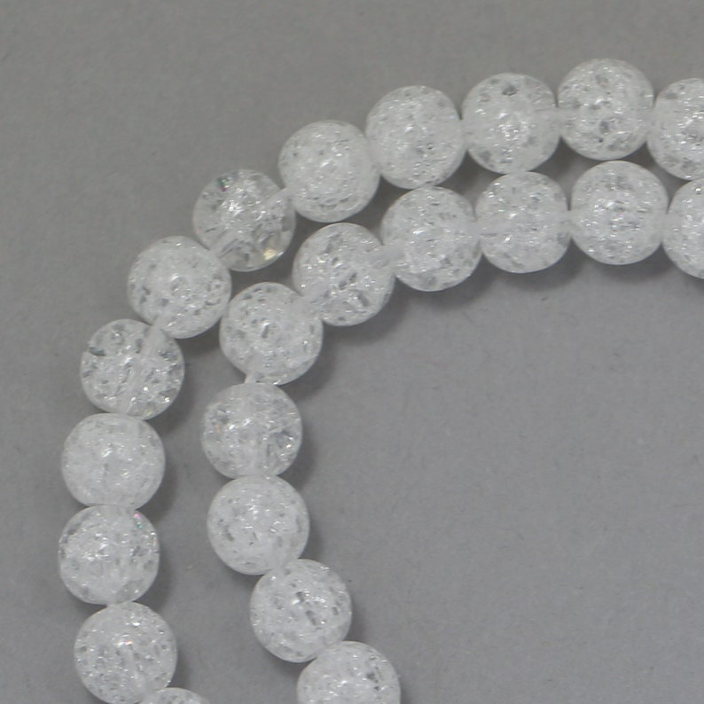 Crackle Glass Beads  Clear  6mm Round image 0