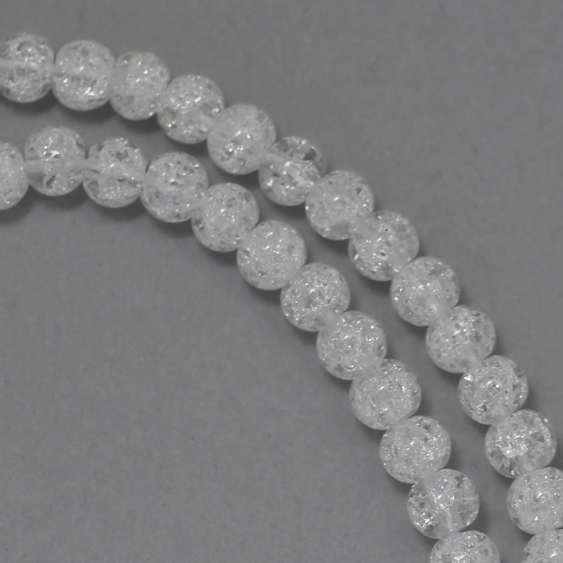 Crackle Glass Beads  Clear  4mm Round image 0