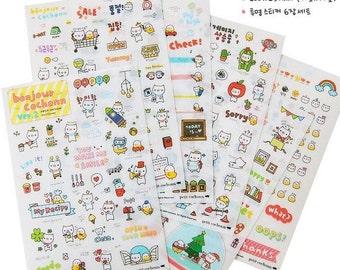 6 Sheets Korea Pretty Sticker Set - Decoration Colorful Paper Sticker-Cute Pig