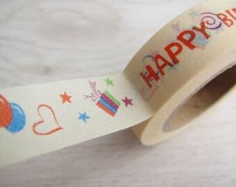 Japanese Washi Tape-Happy birthday  15mm