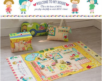 Cotton Fabric Cloth -DIY Cloth Art Manual Cloth -Welcome To My Home  57x33 Inches