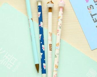4 Pcs Floral and Bear Pencil Set Kawaii Mechanical Pencil Set