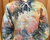 Adult Hoodie Hand Dyed In Shades Of Blue, Green, Peach And Cream. Pastel Hoodie.