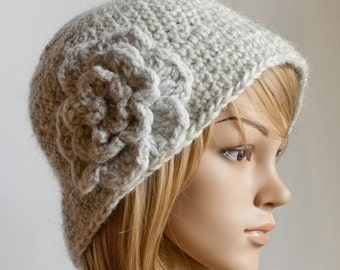CROCHET PATTERN instant download - Classy Calista Cloche - grey beautiful pretty gray hat cap tutorial PDF