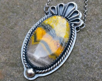 Bumblebee Jasper Sterling Southwest Inspired Necklace