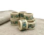 Set 8 Napkin Rings Hand P...