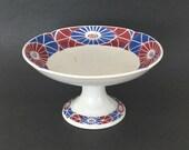Vintage Sarreguemines Pedestal Dish Bowl French Ironstone Art Deco Floral White Red Blue