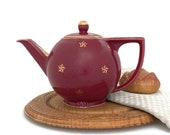 Vintage Hall Teapot Burgundy Maroon Gold Stars 0738 6 Cups Diner Kitchen Decor