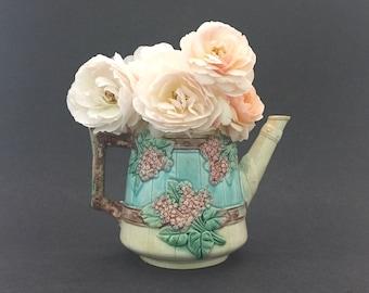 Antique Pottery Majolica Teapot Pastel Florals Home Decor Vase