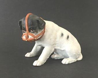 Antique Bisque Dog w Muzzle Heubach Large Figurine Porcelain Collectible