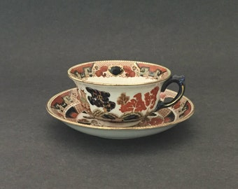 Antique Gaudy Willow Cup and Saucer 2 Avail Buffalo Pottery Polychrome Transferware 1911 Stoneware