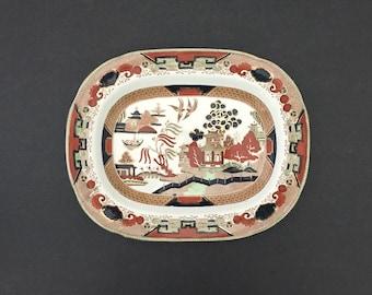 Platter Gaudy Willow Buffalo Pottery Polychrome Transferware 1911 Stoneware
