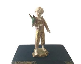 Porcelain Figurine Parakeet Boy Gold Royal Worcester Early Hand Inscribed Model Mark