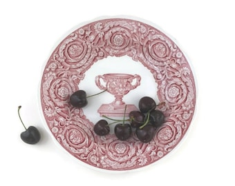 """Vintage Spode Plate 9.25"""" Warwick Vase Cranberry Red Archive Collection"""