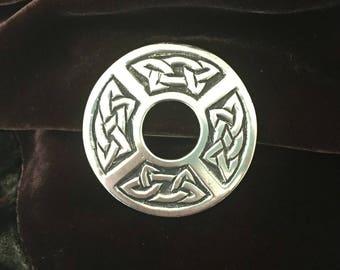 Vintage Celtic Knot Kilt Pin Brooch Pendant Scottish Silver J Fraser Inverness