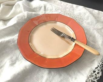 Vintage Dessert Plate Set of 4 Art Deco Orange Lustre Royal Schwarzburg Germany