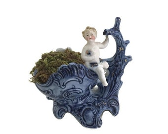Antique Porcelain Baby Figurine Bowl Blue White Ring Dish Candleholder