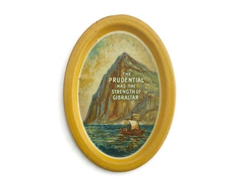 Vintage Tin Tip Tray Advertising Prudential Gibraltar Yellow Border w Hanger