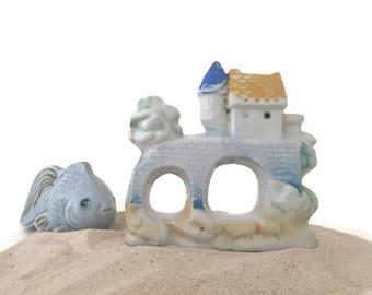 Vintage Aquarium Fish Bowl Castle Ceramic Occupied Japan Shabby Collectible Home Decor