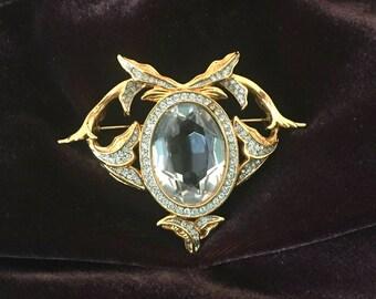 Vintage Brooch Gold Tone w Large Faceted Crystal Daniel Swarovski D. S. Co.