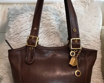 Authentic vintage COACH-Thick Dark Brown Leather COACH Tote Big Brass  Buckles made in the USA f6ffe679cab44