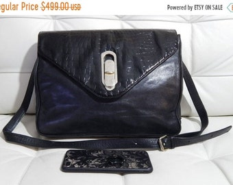 4ecea42eaf Summer sale Free Shipping Authentic FENDI Bag -Black Supple Leather -Croc  Accent -Convertible Envelope Clutch-Crossbody-Caftskin Lined -Made