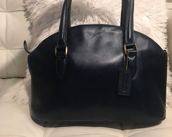 Authentic Vintage Coach Domed Dr Bag Navy Pebbled Leather Made in Italy  Madison Bag 9db15fde894de