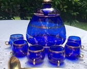 Mothers Day sale Venetian MURANO Cenedese Vetri Bohemian Glass Cobalt Blue 24k Gold Accent Punch Bowl Set